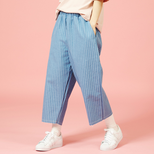 [Sold out] Wide  Stripe Denim Pants (Sky Blue)