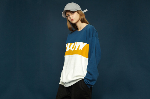 [Sold out] Colorblock sweatshirt (blue)