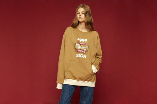 [Sold out] 1990 pocket sweatshirt (beige)