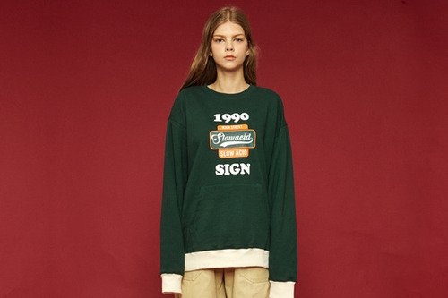 [Sold out] 1990 pocket sweatshirt (green)
