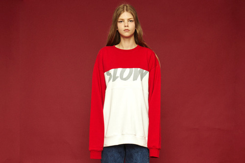 [Sold out] Colorblock sweatshirt (red)