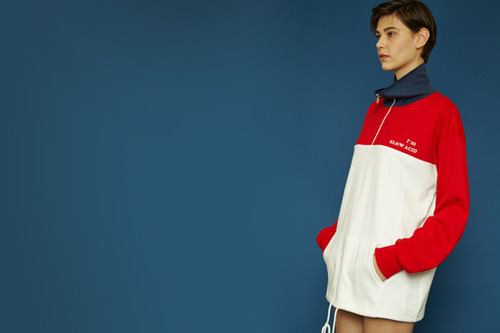 [Sold out] Colorblock anorak (red)