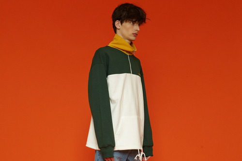 [Sold out] Colorblock anorak (green)