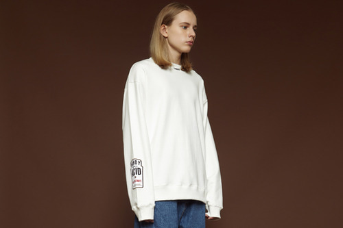 [unisex] Bar-code sweatshirt (white)