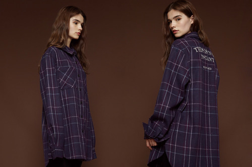 [unisex] Wool check shirt (violet)