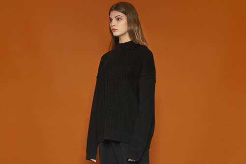 [Sold out] Color Point Knit (black)