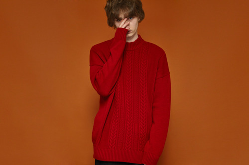 [unisex] Color Point Knit (red)