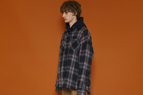 [Sold out] Label Oversized Checkshirt (navy)