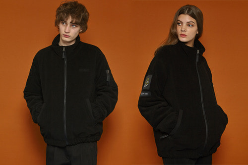 [unisex] Fleece Zipup Jumper (black)