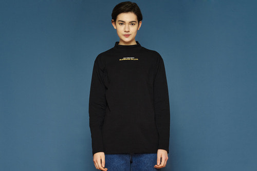 [Soldout] Chestlogo Half-turtleneck T (black)