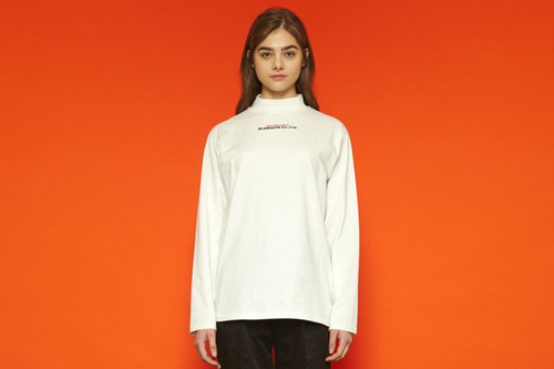 [unisex] Chestlogo Half-turtleneck T (white)