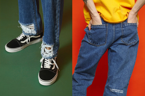 [unisex] Lettering Denim Pants