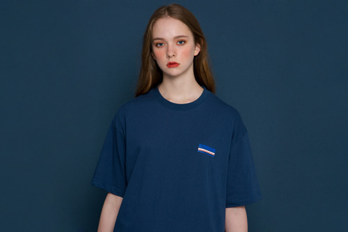 [unisex] Underline Logo Short-T (blue)