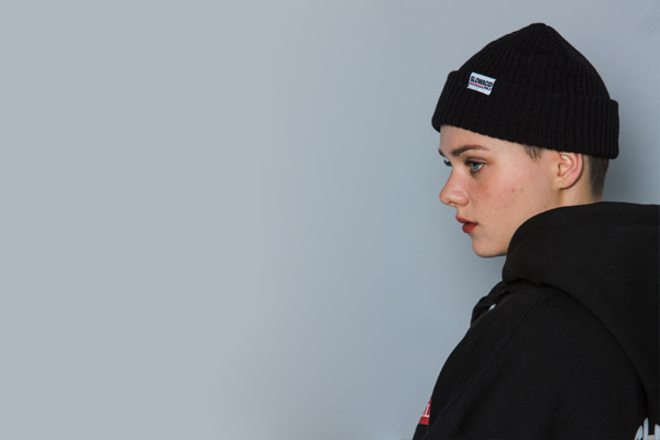 [Sold out]Bold-line Label Beanie (BLACK)