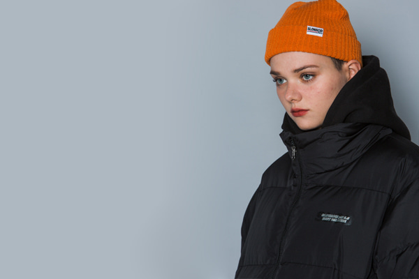 [Sold out]Bold-line Label Beanie (ORANGE)