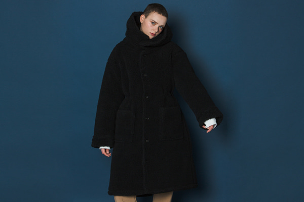 [Sold out]Boa Fleece Long Parka (BLACK)