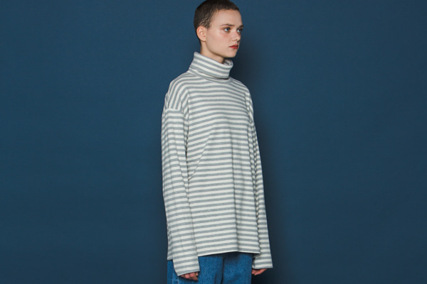 Stripe Turtleneck Long-T (GREY)