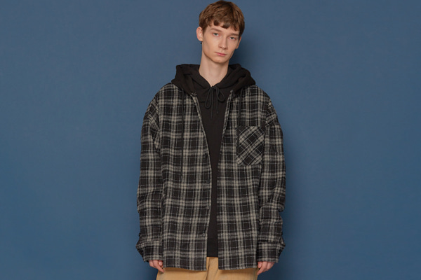 Hood Check Shirt (BLACK)